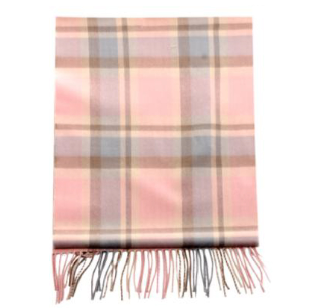 A photo of the Soft Pink Pink Plaid Cashmere Feel Scarf product