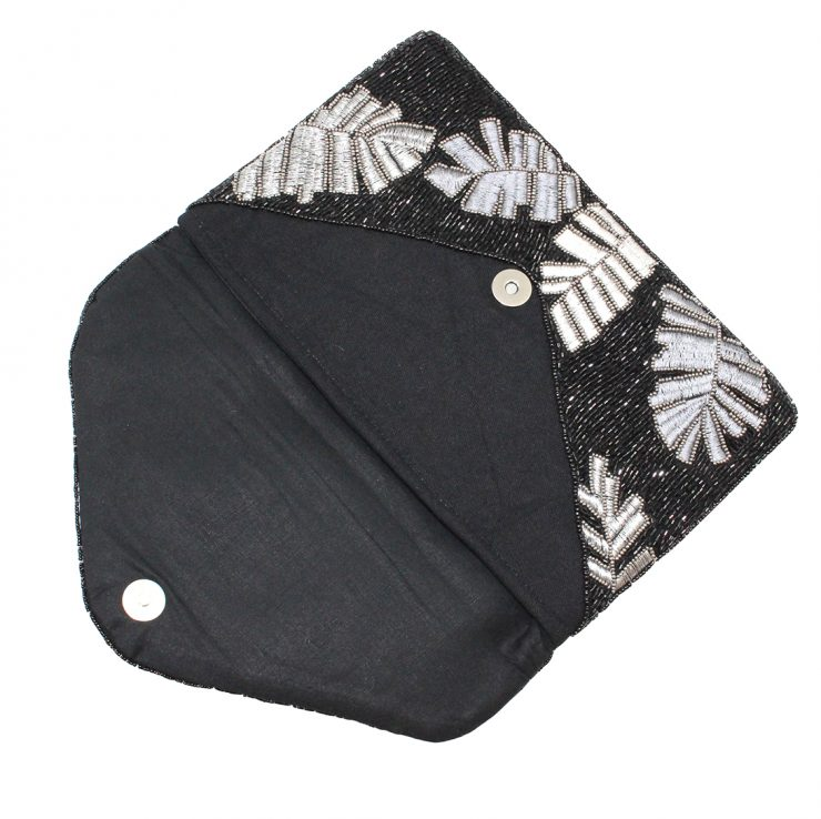 A photo of the Tropical Beaded Clutch in Black product