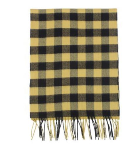 A photo of the Yellow and Black Buffalo Check Cashmere Feel Scarf product
