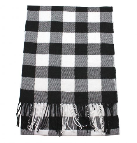 A photo of the Black and White Buffalo Check Cashmere Feel Scarf product