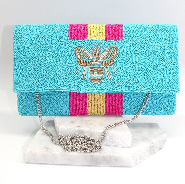 A photo of the Beeautiful Bee Handbag in Blue product