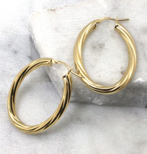 A photo of the Bologna Hoop Earrings in Gold product