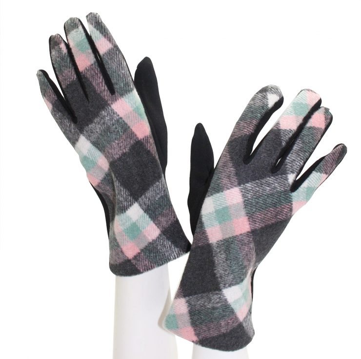 A photo of the Grey and Pink Diagonal Plaid Gloves product