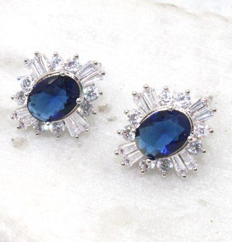 A photo of the Mini Burst Rhinestone Earrings product