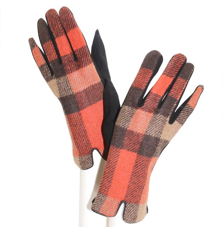 A photo of the Orange Buffalo Check Gloves product