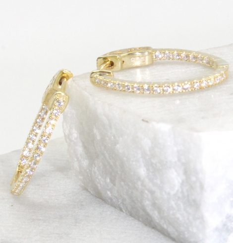 A photo of the Rhinestone Oval Hoop Earrings product