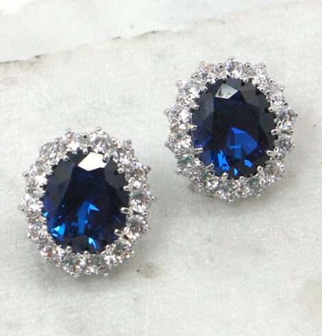 A photo of the Sapphire Rhinestone Earrings product