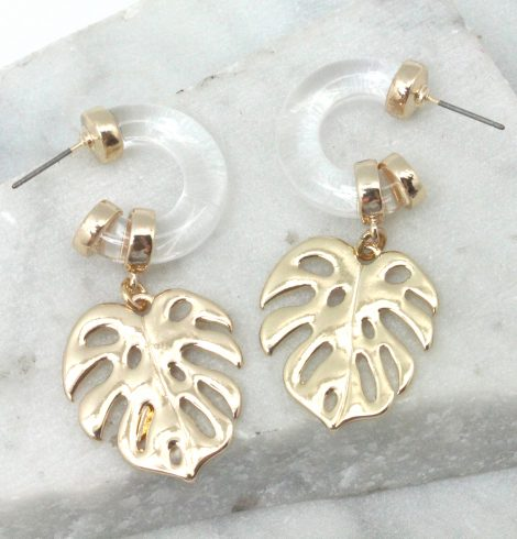 A photo of the Acrylic Leaf Hoop Earrings product