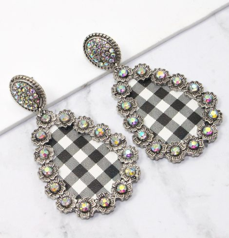 A photo of the Buffalo Check Statement Earrings product