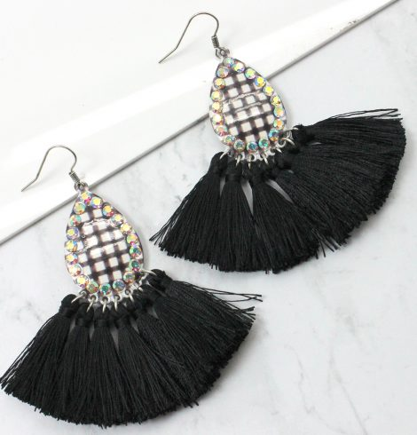 A photo of the Buffalo Check Tassel Earrings product