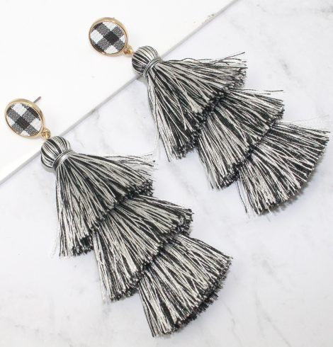 A photo of the Buffalo Check Tiered Earrings product