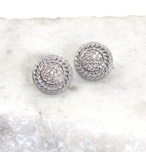 A photo of the Cable Trim Rhinestone Earrings product