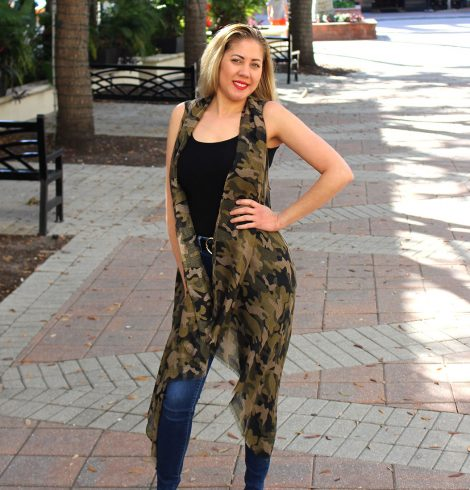 A photo of the Camo Print Vest Kimono product