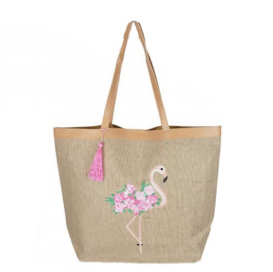 A photo of the Flamingo Embroidered Tote product