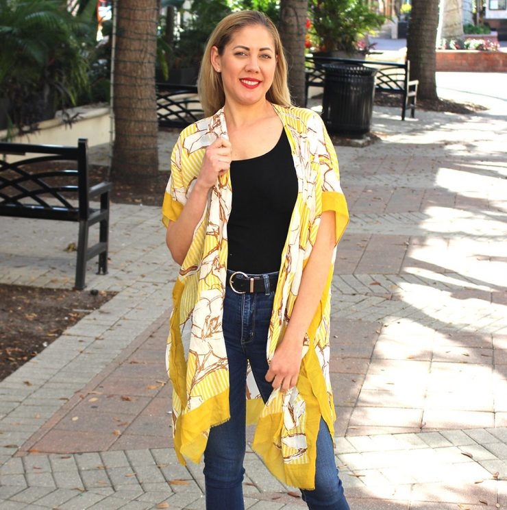 A photo of the Floral Striped Kimono product