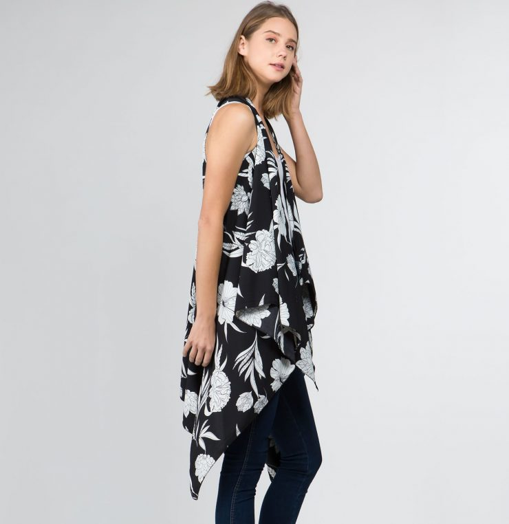 A photo of the Floral Vest Kimono product