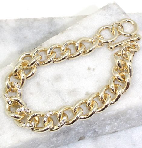 A photo of the Gold Links Rhinestone Bracelet product