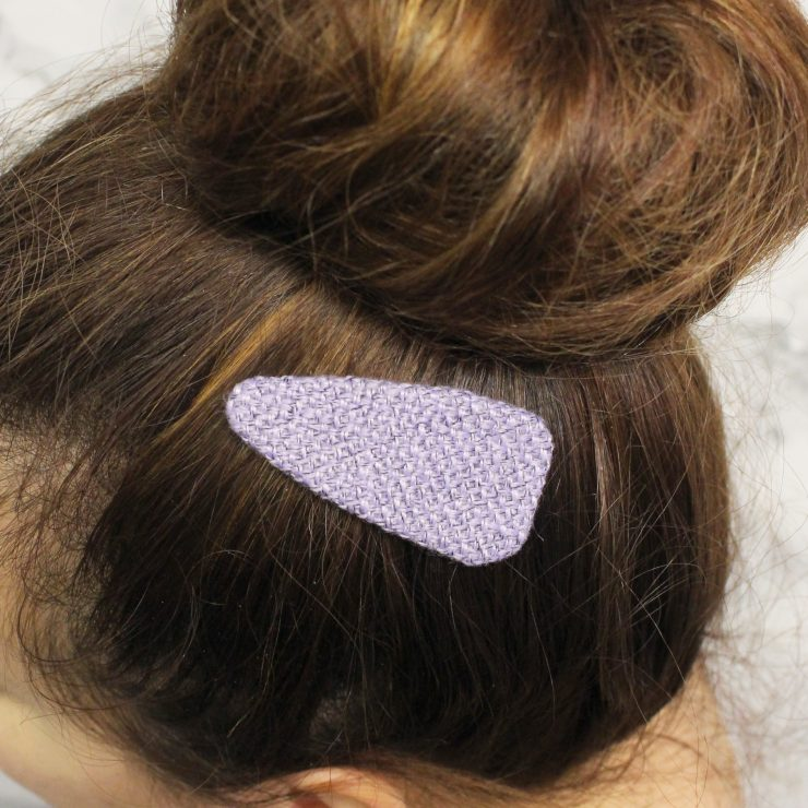 A photo of the Small Burlap Hair Clip product
