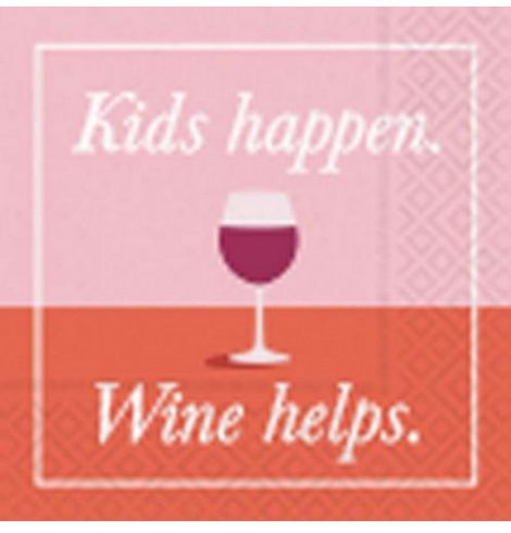 A photo of the Kids Happen, Wine Helps Napkins product