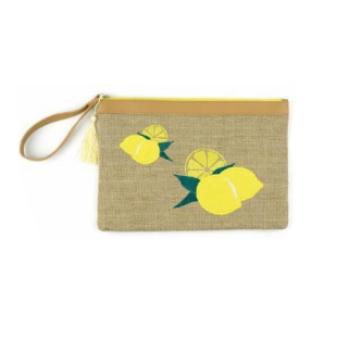 A photo of the Lemon Straw Wristlet product