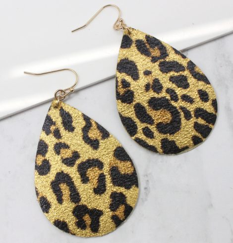 A photo of the Leopard Petal Earrings product