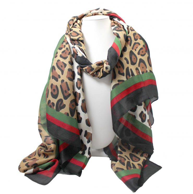 A photo of the Leopard Stripe Scarf product