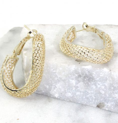 A photo of the Mesh Wave Hoop Earrings product