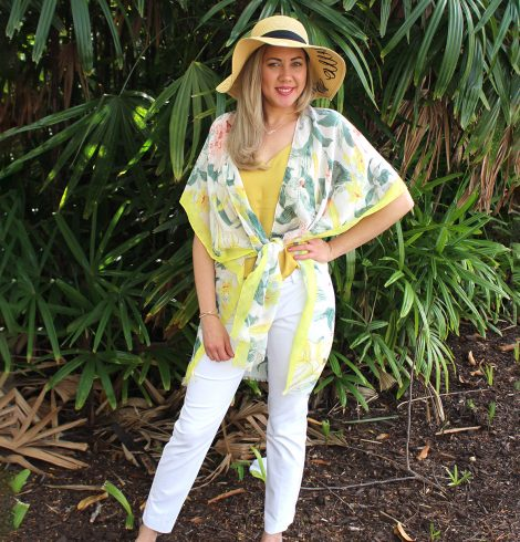 A photo of the Tropical Pastel Kimono product