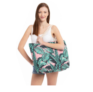 A photo of the Pink Tropical Leaf Tote product