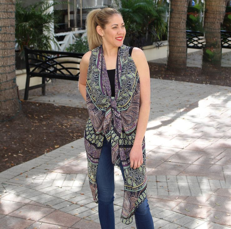 A photo of the Paisley Kimono Vest product