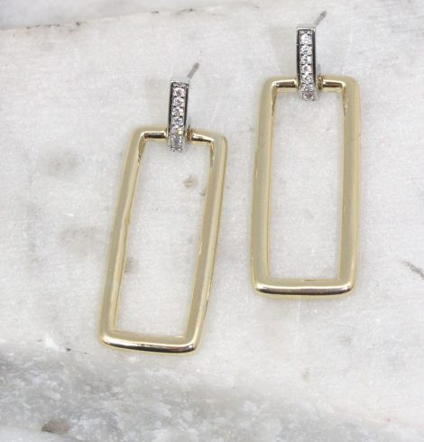 A photo of the Rectangle Link Earrings product