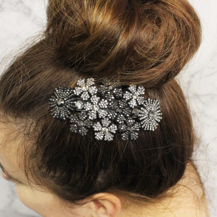 A photo of the Rhinestone Flower Barrette product