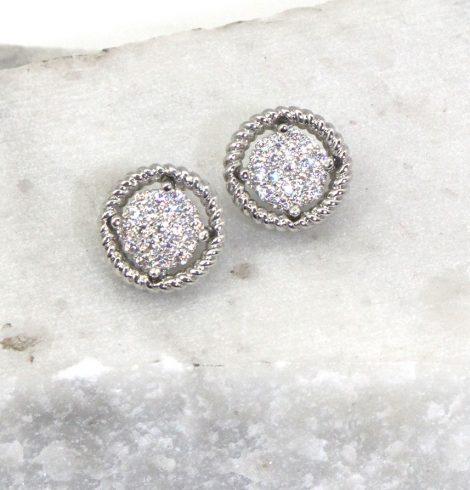 A photo of the Rhinestone Wheel Earrings product