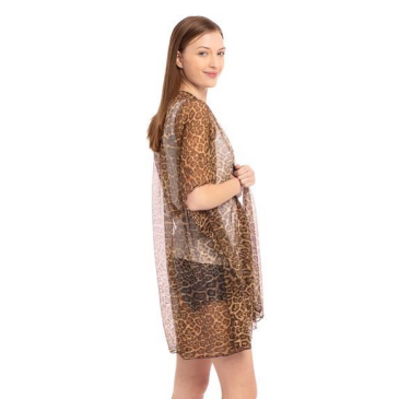 A photo of the Sheer Leopard Kimono product