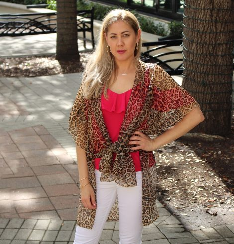A photo of the Sheer Leopard Kimono product
