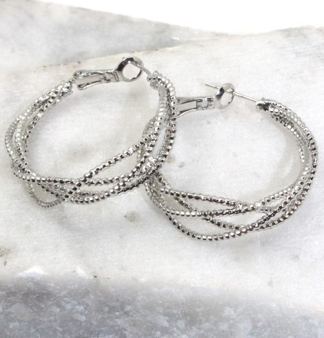 A photo of the Sparkle Web Hoop Earrings product