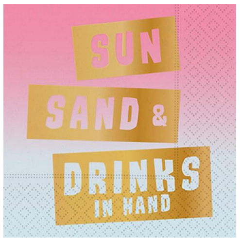 A photo of the Sun, Sand & Drinks in Hand Napkins product