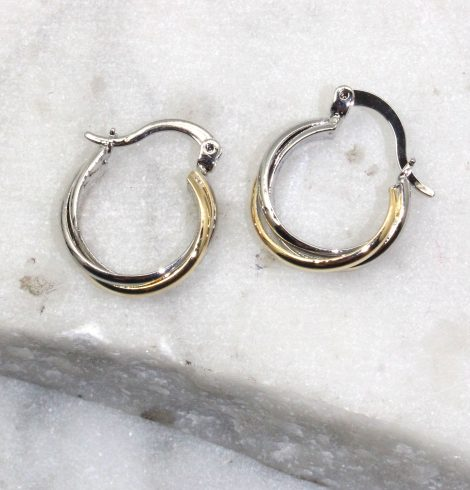 A photo of the Twisted Hooplette Earrings product