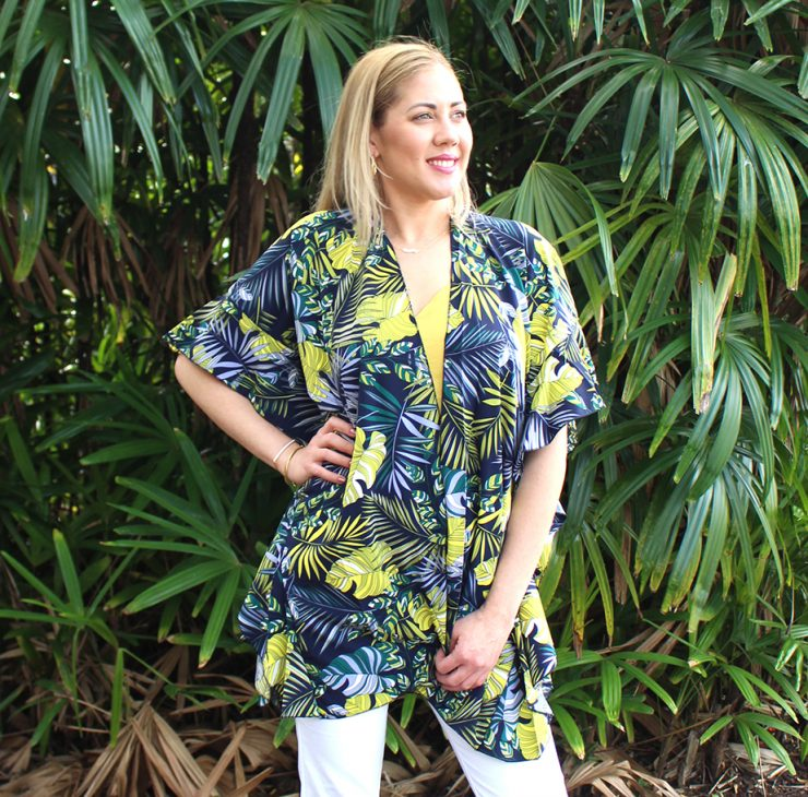 A photo of the Tropical Leaves Ruffle Kimono product