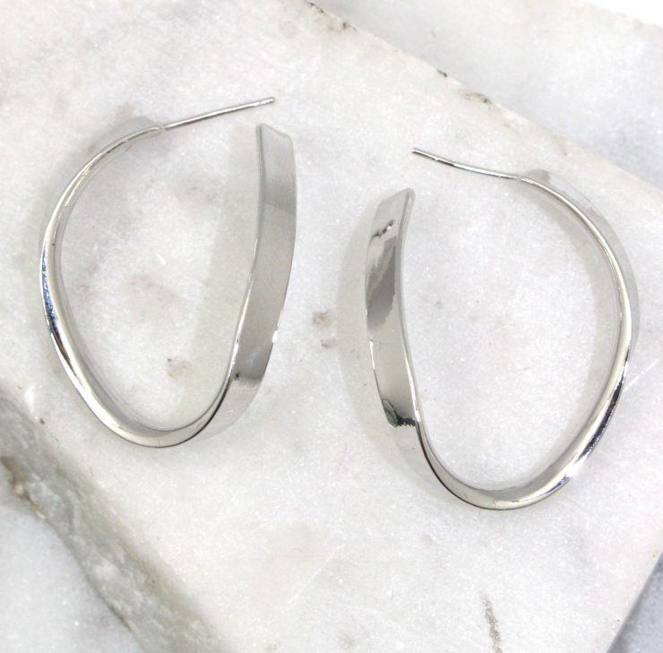 A photo of the Twist Hoop Earrings product