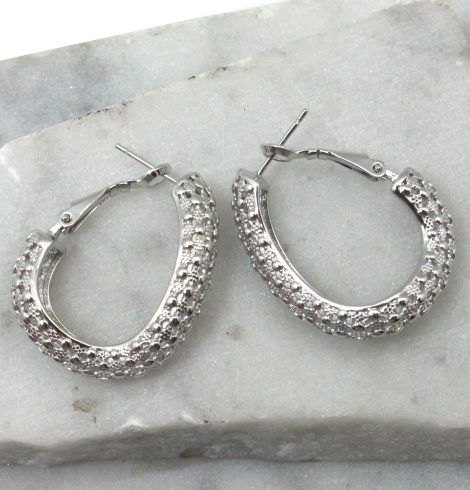 A photo of the Twisted Oval Hoop Earrings in Silver product