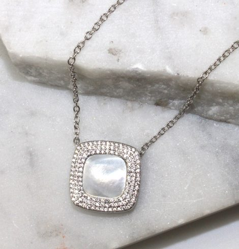 A photo of the White Rhinestone Chain Necklace product