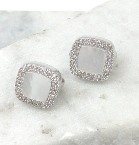 A photo of the White Rhinestone Square Earrings product