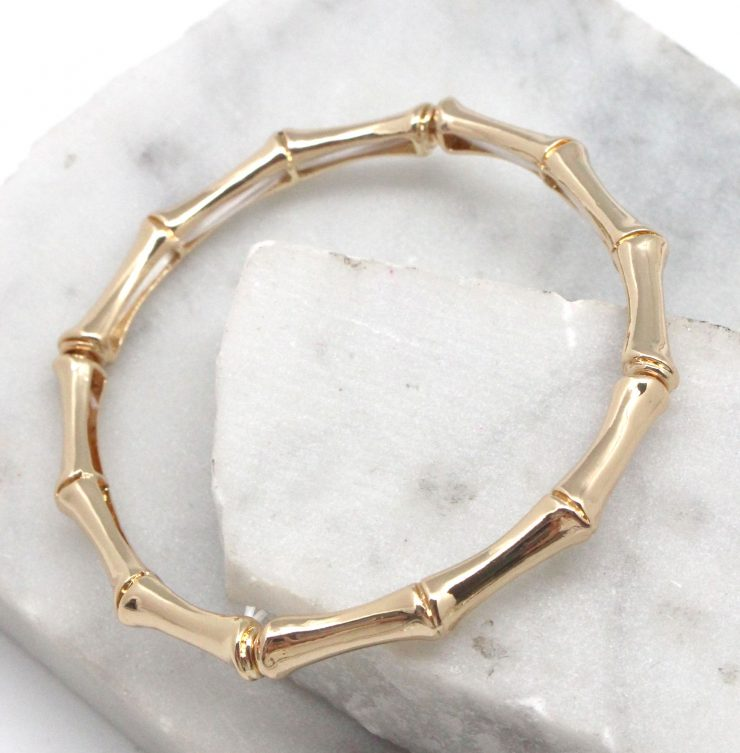 A photo of the Bamboo Stretch Bracelet in Gold product