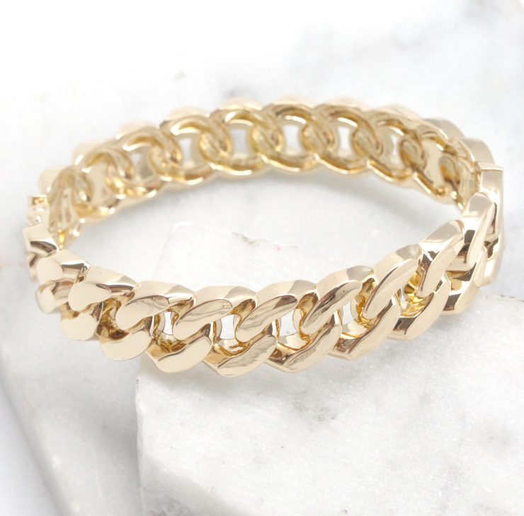A photo of the Chain Link Bangle in Silver product