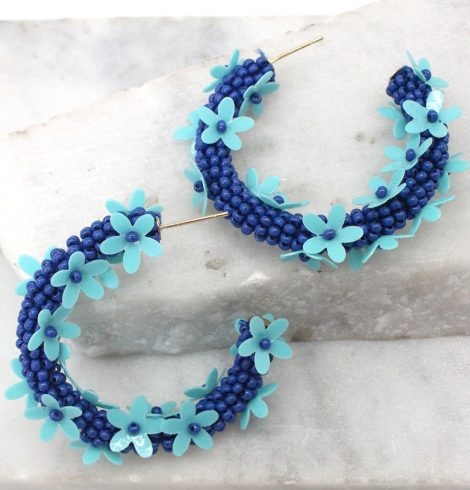 A photo of the Flower Power Hoop Earrings product