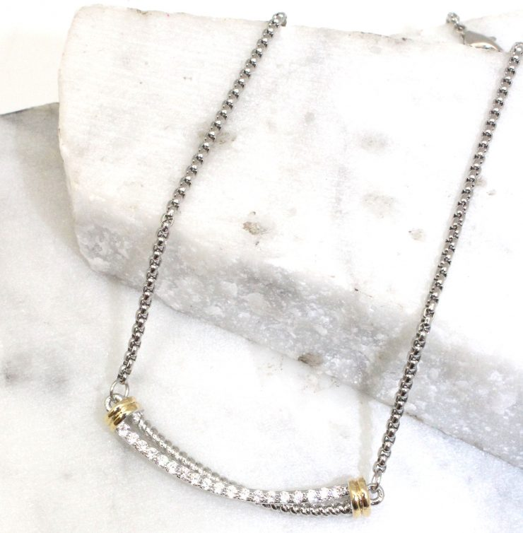 A photo of the Rhinestone Twist Bars Necklace product