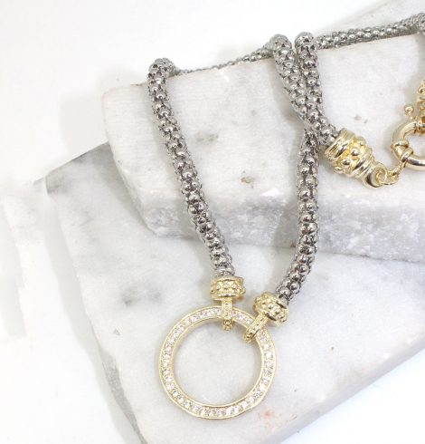 A photo of the Ring of Rhinestones Necklace product