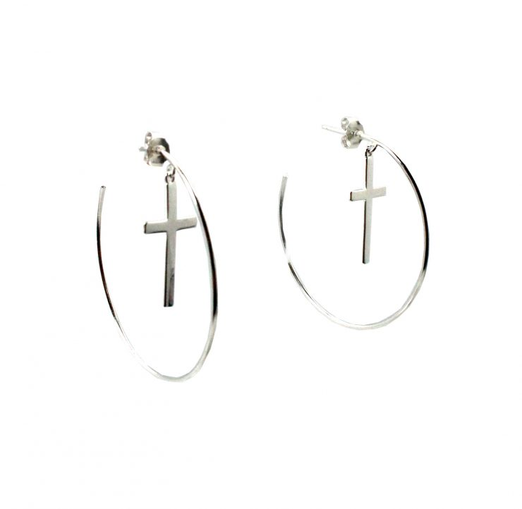 A photo of the Cross Hoop Earrings product
