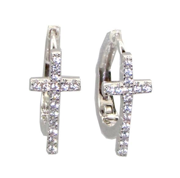A photo of the Cross Huggie Hoop Earrings product